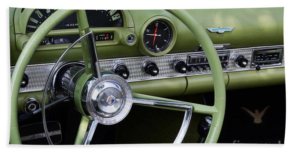 Automobile Art Bath Sheet featuring the photograph 1956 Thunderbird Interior by Bob Christopher