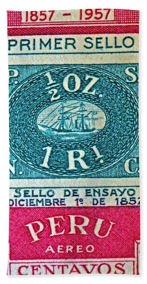 1957 Peru Stamp Bath Sheet featuring the photograph 1957 Peru Ten Centavos Stamp by Bill Owen