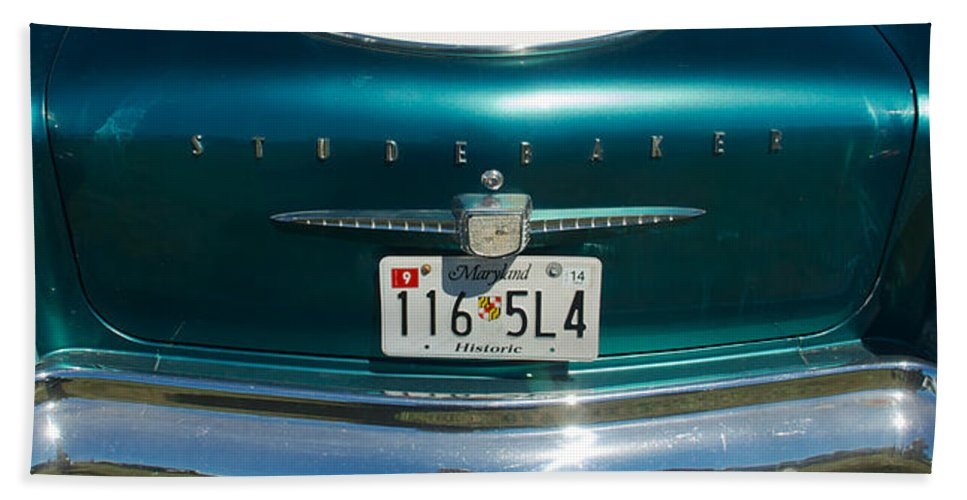 1958 Studebaker Hand Towel featuring the photograph 1958 Studebaker by Mark Dodd