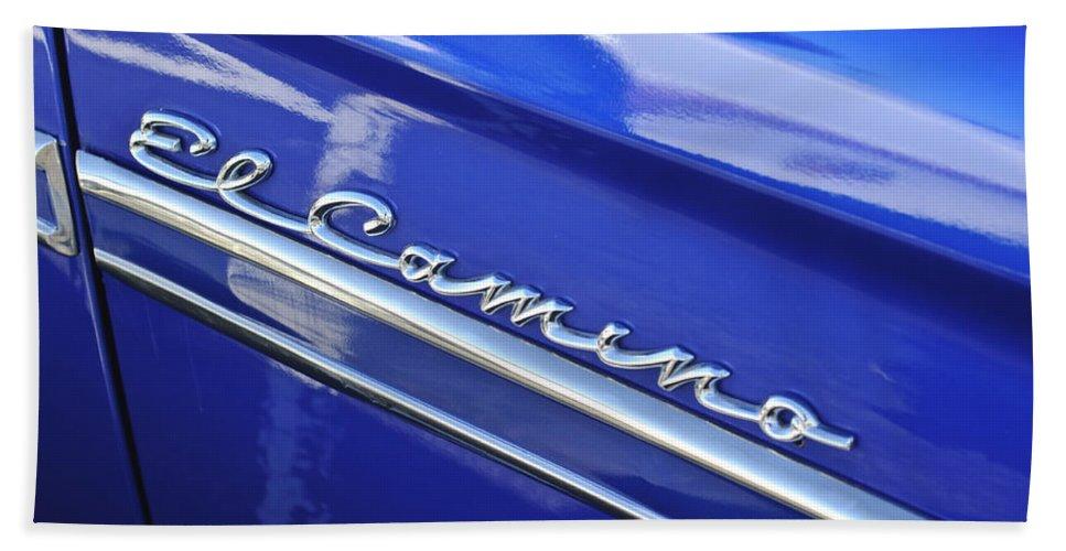 1959 Chevrolet El Camino Bath Sheet featuring the photograph 1959 Chevrolet El Camino Emblem by Jill Reger