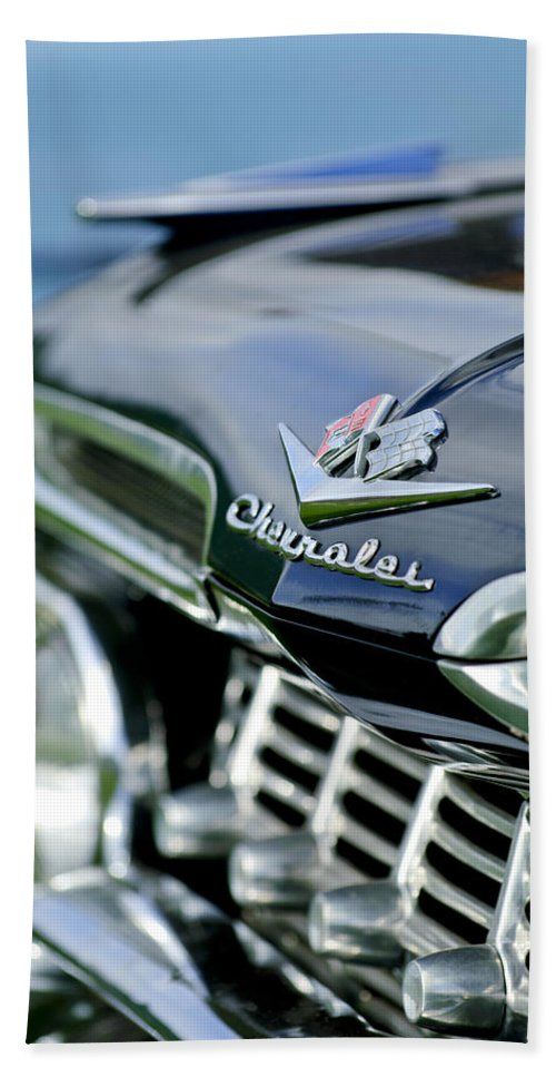 1959 Chevrolet Hand Towel featuring the photograph 1959 Chevrolet Grille Emblem by Jill Reger