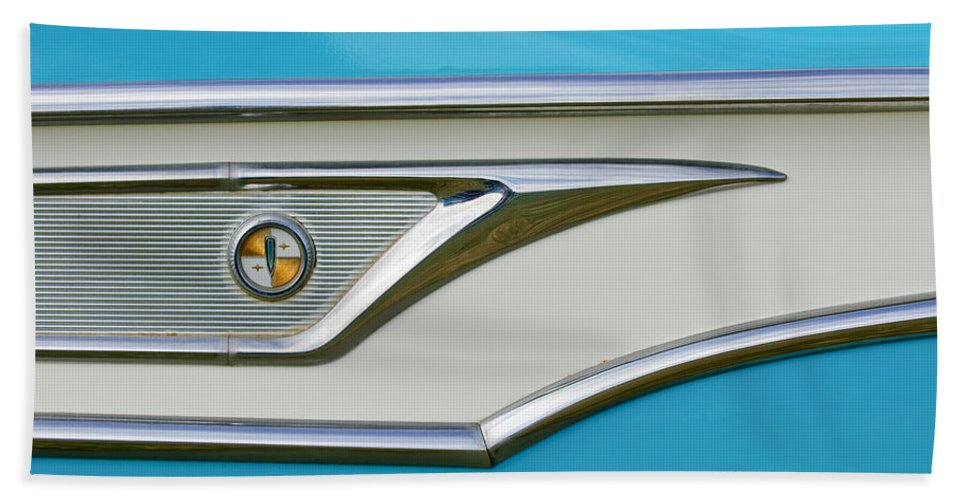 1959 Edsel Corvair Hand Towel featuring the photograph 1959 Edsel Corvair Side Emblem by Jill Reger