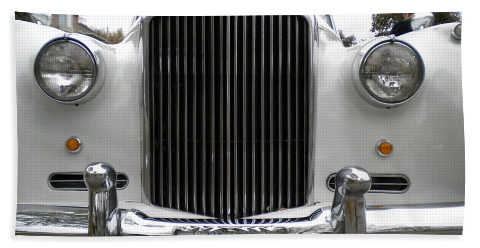 Antique Cars Bath Sheet featuring the photograph 1960 Bentley Front by Renate Nadi Wesley