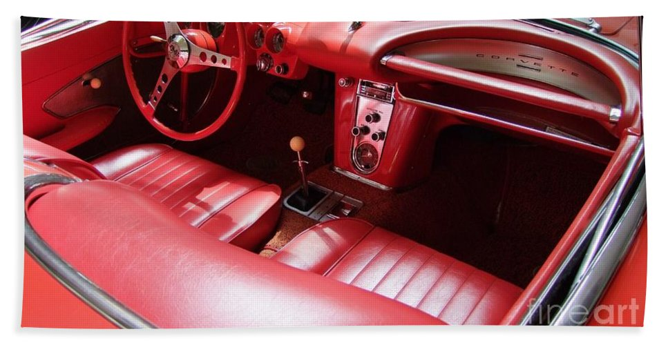 Corvette Hand Towel featuring the photograph 1960 Chevrolet Corvette Interior by Mary Deal