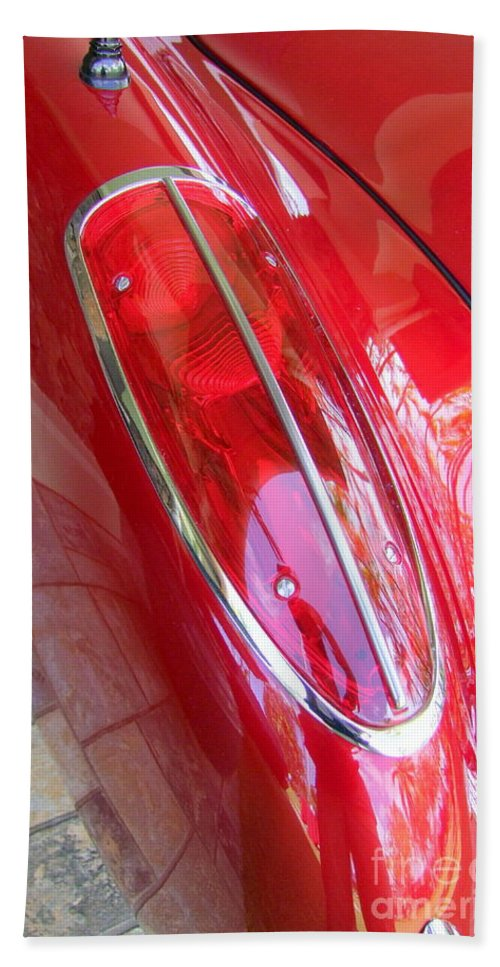 Corvette Hand Towel featuring the photograph 1960 Chevrolet Corvette Tail Light by Mary Deal