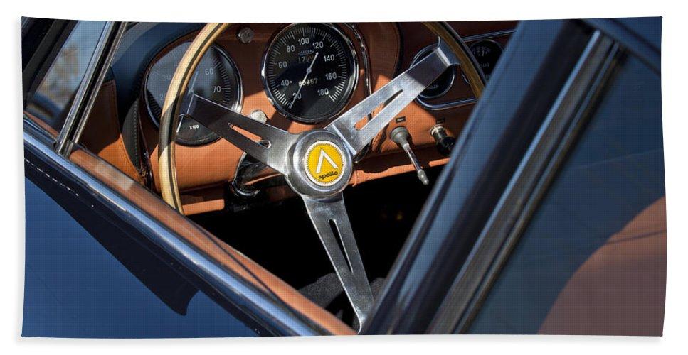 1963 Intermeccanica Apollo Hand Towel featuring the photograph 1963 Apollo Steering Wheel   by Jill Reger