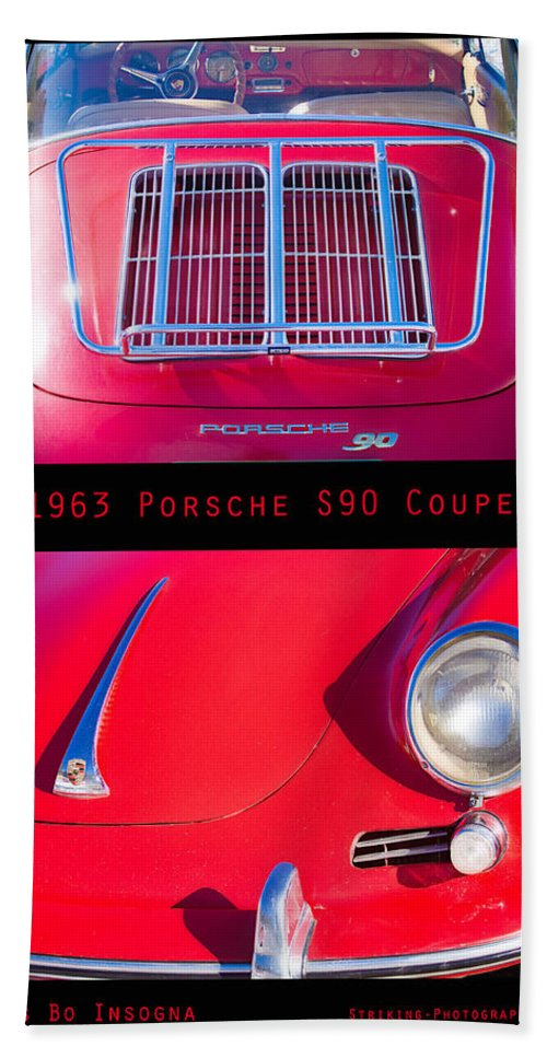 1963 Bath Sheet featuring the photograph 1963 Red Porsche S90 Coupe Poster S by James BO Insogna