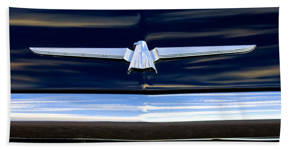 1964 Ford Thunderbird Hand Towel featuring the photograph 1964 Ford Thunderbird Emblem by Jill Reger