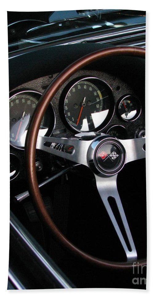 1965 Corvette Bath Sheet featuring the photograph 1965 Corvette Roadster Dash by Peter Piatt