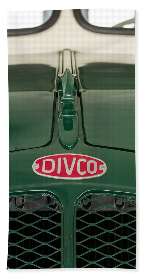 1965 Divco Milk Truck Bath Sheet featuring the photograph 1965 Divco Milk Truck Hood Ornament 4 by Jill Reger