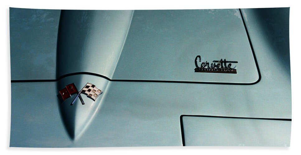 1966 Corvette Sting Ray Bath Sheet featuring the photograph 1966 Corvette Sting Ray Hood Insignia by Paul Ward