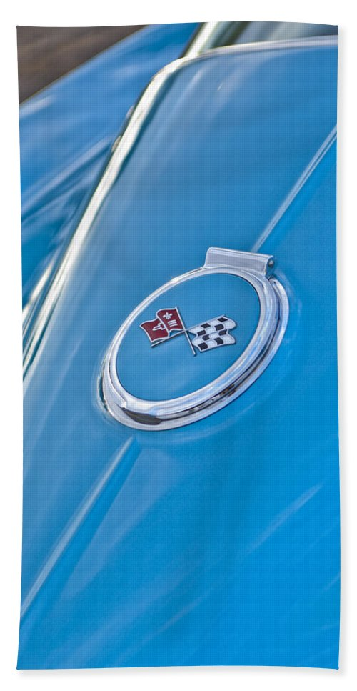 1967 Chevrolet Corvette Bath Sheet featuring the photograph 1967 Chevrolet Corvette Rear Emblem by Jill Reger