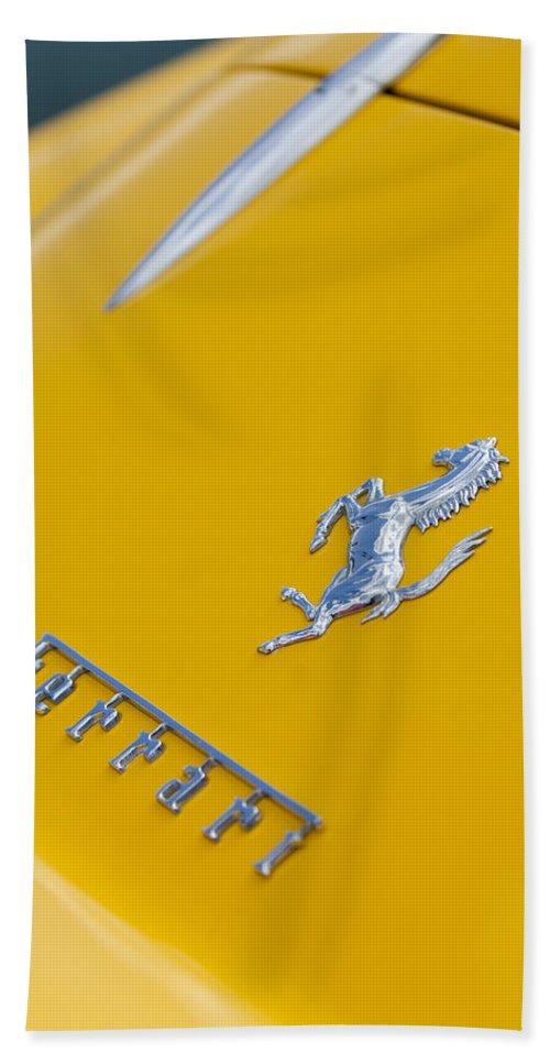 1967 Ferrari 275 Gtb4 Hand Towel featuring the photograph 1967 Ferrari 275 Gtb4 Emblem 3 by Jill Reger