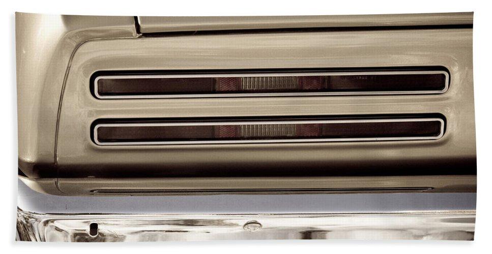 Automobiles Bath Sheet featuring the photograph 1967 Pontiac Firebird Back Lights Close Up by James BO Insogna