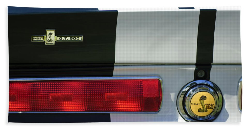 1967 Shelby Gt500 Fastback Bath Sheet featuring the photograph 1967 Shelby Gt500 Fastback Taillight Emblem by Jill Reger
