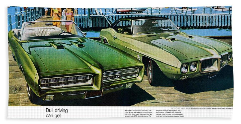 1969 Hand Towel featuring the digital art 1969 Pontiac Gto And Firebird by Digital Repro Depot
