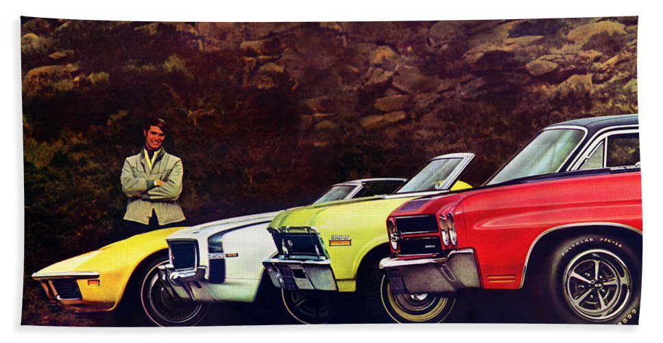 1970 Hand Towel featuring the digital art 1970 Chevrolet Lineup - This Is What Our Competition Is Going To Have To Live With. by Digital Repro Depot