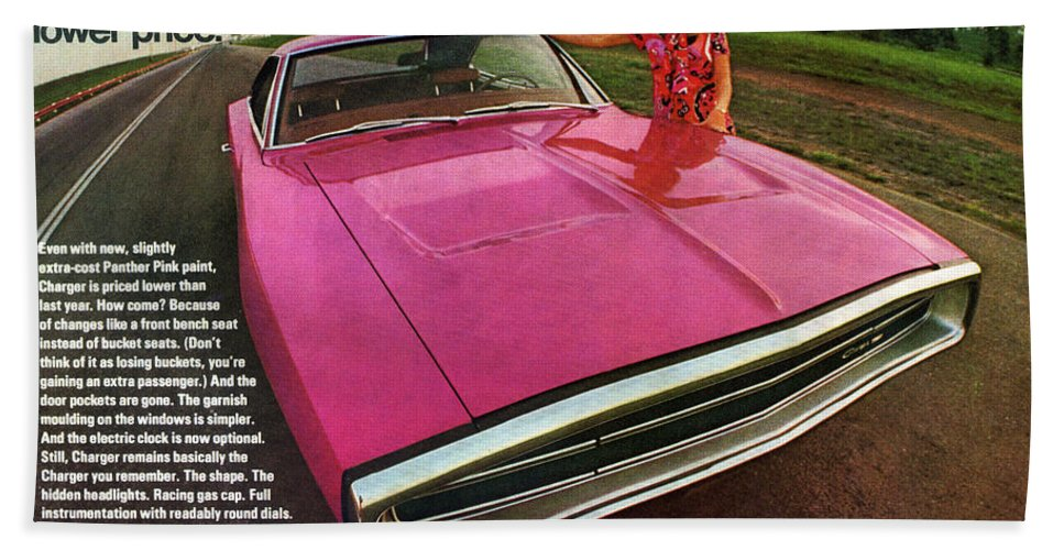1970 Hand Towel featuring the digital art 1970 Dodge Charger Tickled Pink by Digital Repro Depot