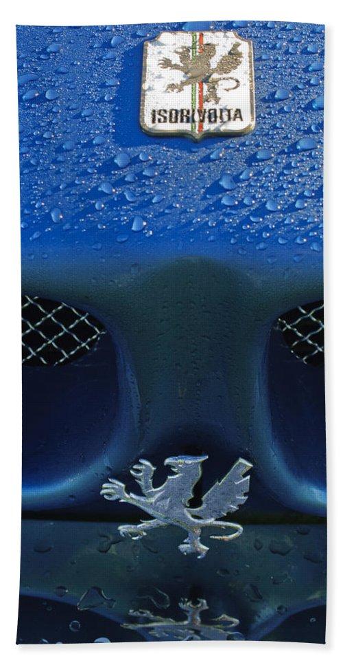 1970 Iso Rivolta Grifo Bath Sheet featuring the photograph 1970 Iso Rivolta Grifo Emblem 2 by Jill Reger
