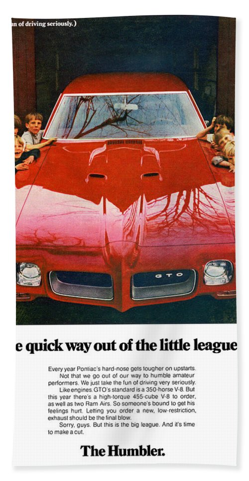 1970 Hand Towel featuring the digital art 1970 Pontiac Gto - The Quick Way Out Of The Little Leagues. by Digital Repro Depot