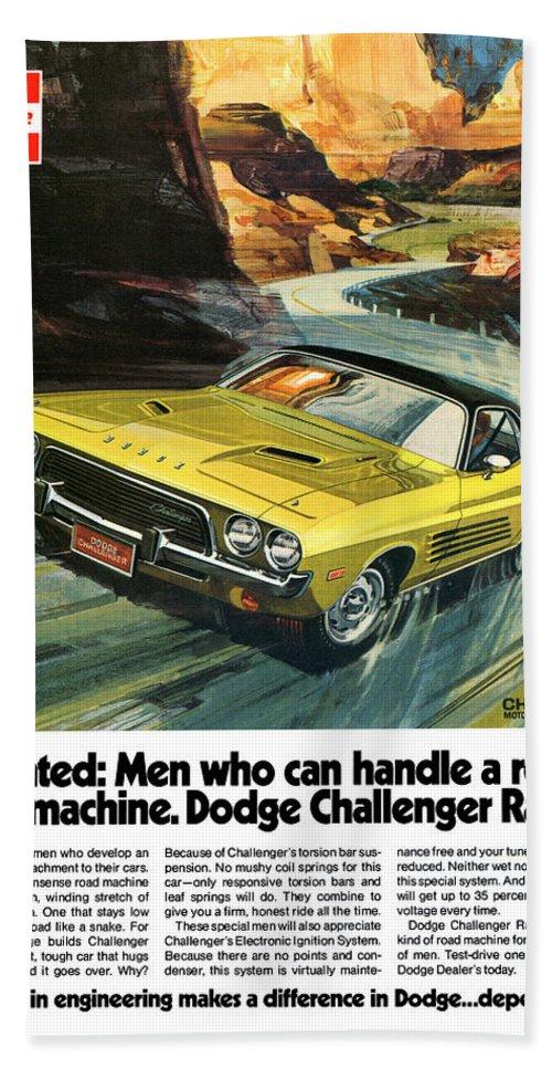 1973 Hand Towel featuring the digital art 1973 Dodge Challenger Rallye by Digital Repro Depot