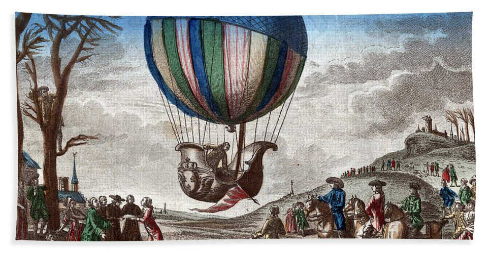 Technology Hand Towel featuring the photograph 1st Manned Hydrogen Balloon Flight, 1783 by Photo Researchers