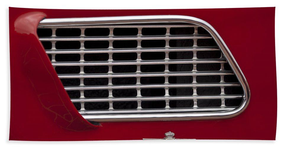 1960 Maserati 3500 Gt Coupe Bath Sheet featuring the photograph 1960 Maserati 3500 Gt Coupe Emblem by Jill Reger