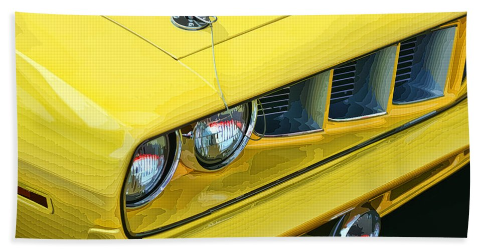 Yellow Bath Sheet featuring the photograph 1971 Plymouth Cuda 440 by Gordon Dean II