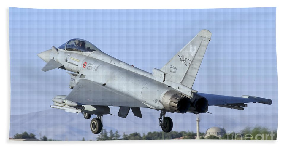 Turkey Bath Sheet featuring the photograph A Eurofighter F-2000 Of The Italian Air by Giovanni Colla