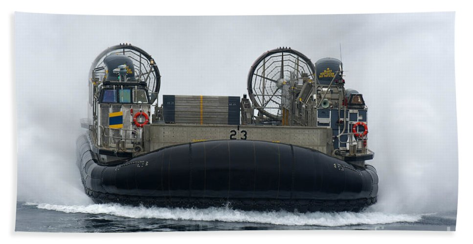 Lcac Hand Towel featuring the photograph A Landing Craft Air Cushion Approaches by Stocktrek Images