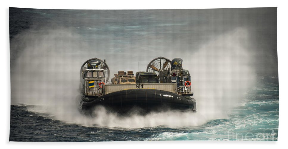 Lcac Hand Towel featuring the photograph A Landing Craft Air Cushion Transits by Stocktrek Images