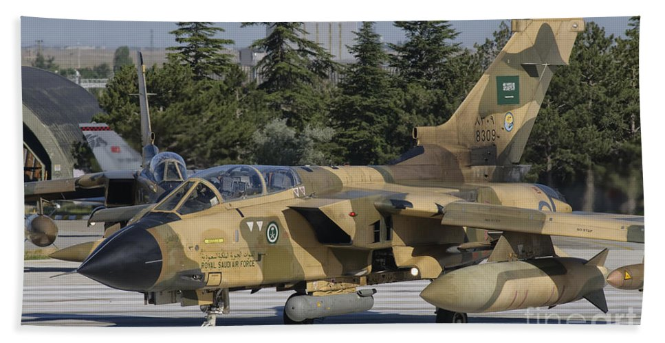 Turkey Hand Towel featuring the photograph A Panavia Tornado Ids Of The Royal by Giovanni Colla