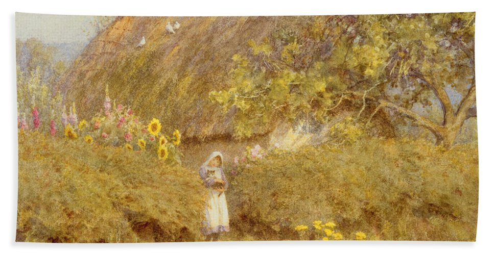 Surrey; Cottage; Rural; Country; Countryside; Thatch; Thatched; Sunny; Sunflowers; Foxgloves; Flowers; Doves; Pigeons; Birds; Hedge; Female; Young; Child; Girl; Pinafore; Cat; Pet; Holding; Chimney; House; Home; Idyll Bath Sheet featuring the painting A Surrey Cottage by Helen Allingham