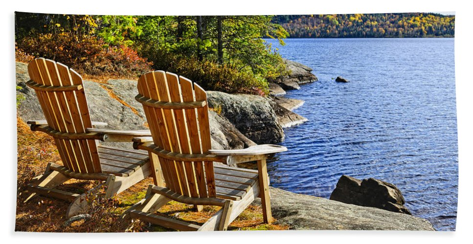 Chairs Hand Towel featuring the photograph Adirondack Chairs At Lake Shore by Elena Elisseeva