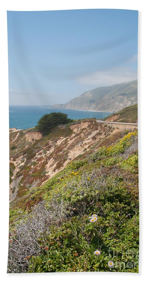 Beach Bath Sheet featuring the digital art Along Big Sur by Carol Ailles
