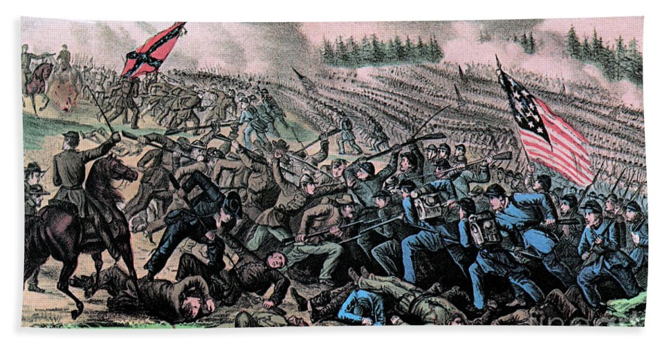 History Hand Towel featuring the photograph American Civil War, Battle by Photo Researchers