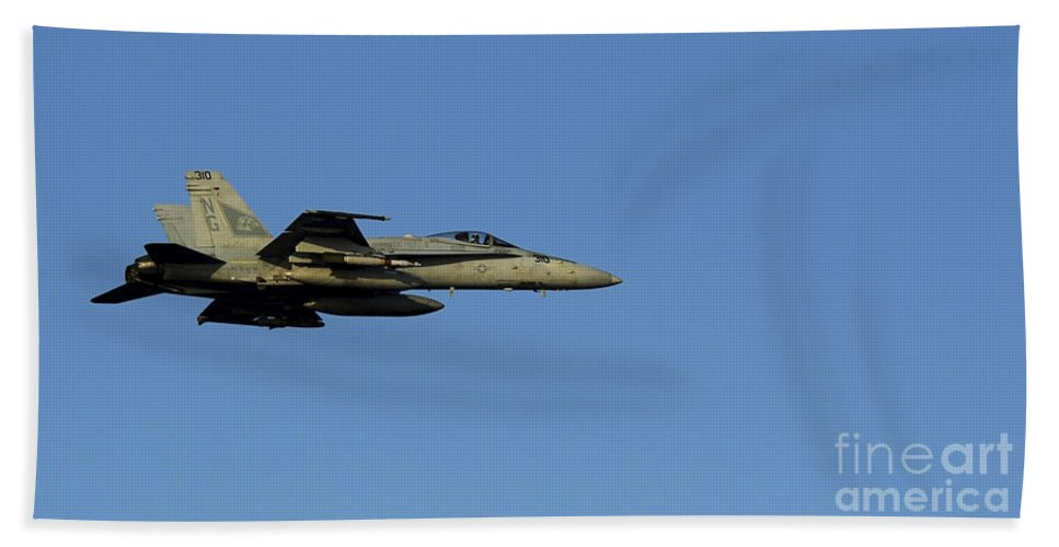 F-18 Hornet Hand Towel featuring the photograph An Fa-18c Hornet In Flight by Stocktrek Images