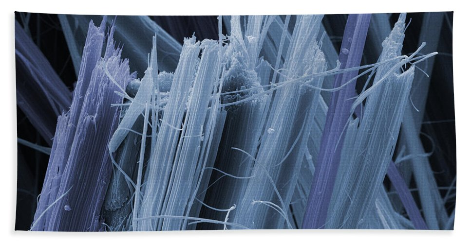 Asbestos Fibers Hand Towel featuring the photograph Asbestos, Sem by Ted Kinsman