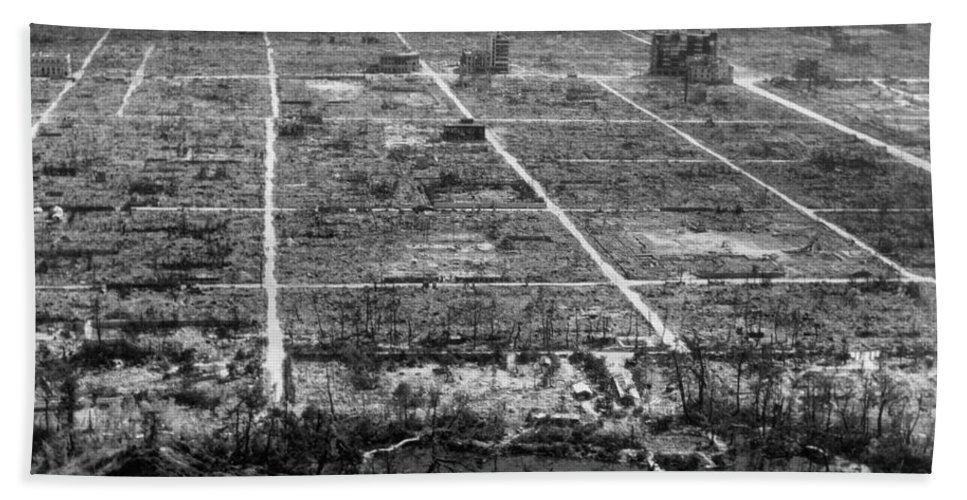 Historic Hand Towel featuring the Atomic Bomb Destruction, Hiroshima by Photo Researchers