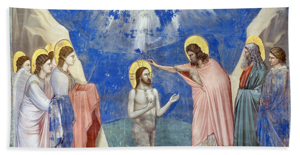 1304 Hand Towel featuring the photograph Baptism Of Christ by Granger