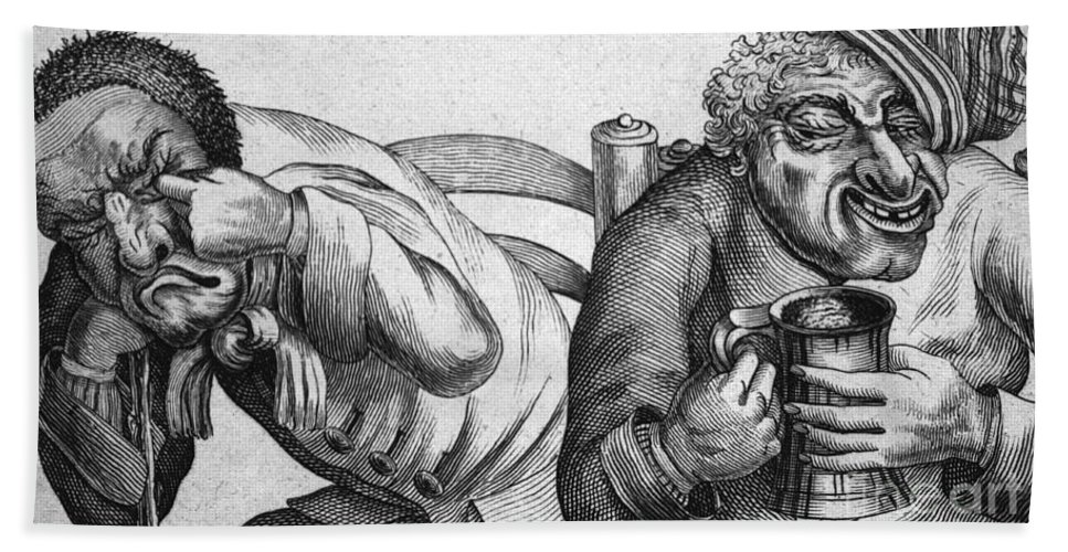 History Hand Towel featuring the Caricature Of Two Alcoholics, 1773 by Science Source