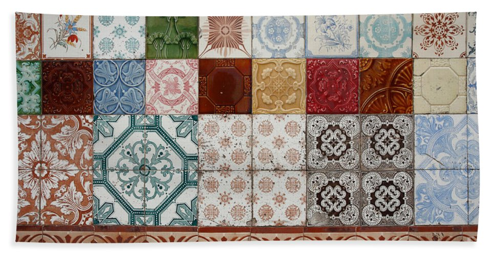 Azulejo Bath Sheet featuring the photograph Colorful Glazed Tiles by Gaspar Avila