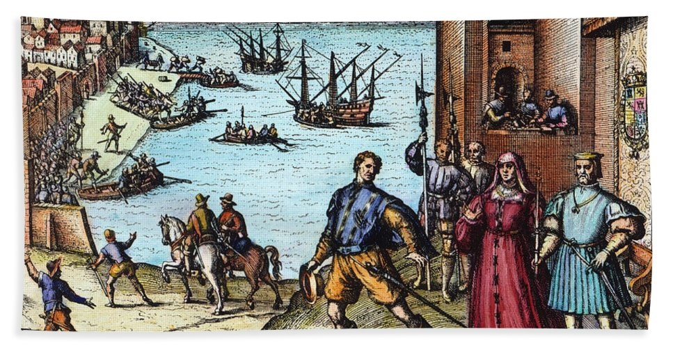 1492 Hand Towel featuring the photograph Columbus: Departure, 1492 by Granger