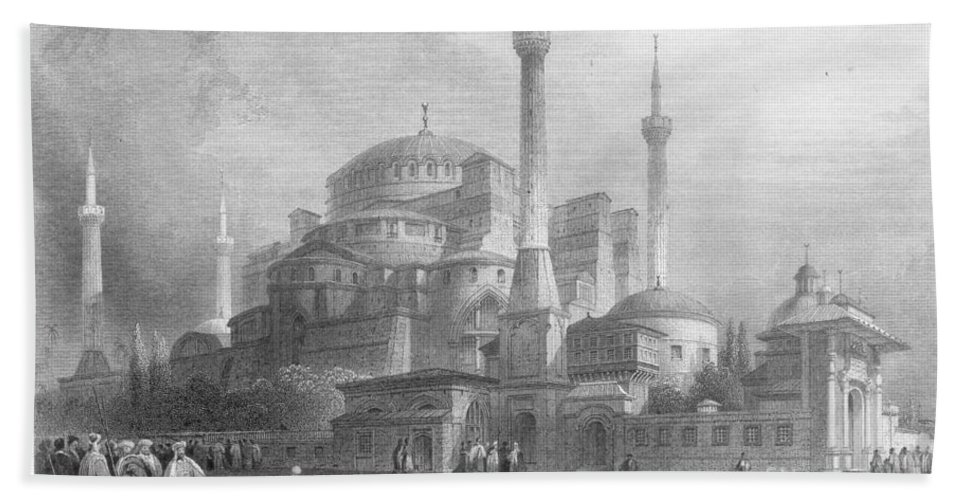 1832 Hand Towel featuring the photograph Constantinople: St. Sophia by Granger