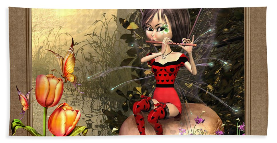 Fairy Playing The Flute Bath Sheet featuring the digital art Fairy Playing The Flute by John Junek