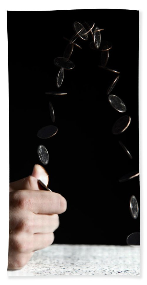 Flipping Hand Towel featuring the photograph Flipping A Coin by Ted Kinsman