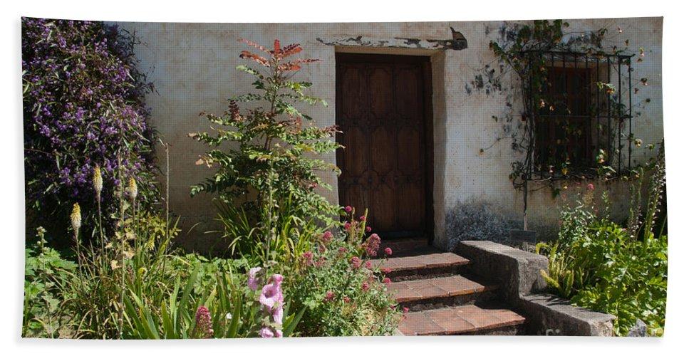 Gardens Bath Sheet featuring the digital art Gardens In Carmel Monastery by Carol Ailles