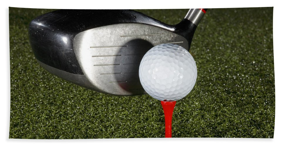 Ball Hand Towel featuring the photograph Golf Ball And Club by Ted Kinsman