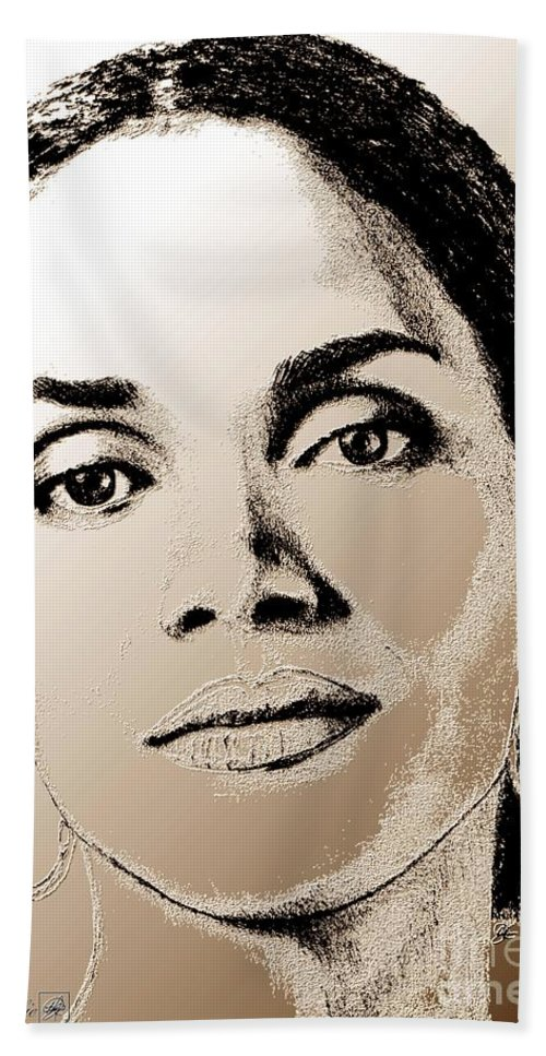 Halle Berry Hand Towel featuring the digital art Halle Berry In 2008 by J McCombie