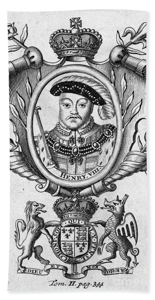 16th Century Bath Towel featuring the photograph Henry Viii (1491-1547) by Granger